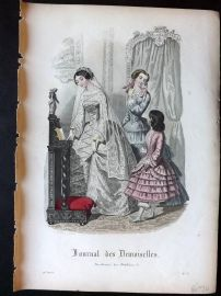 Journal des Demoiselles C1850 Antique Hand Col Fashion Print 91